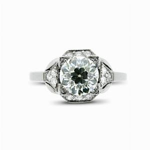 Old Cut Deco Style Engagement Ring 1.21ct FVS2 BGI